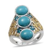 Arizona Sleeping Beauty Turquoise, Malgache Neon Apatite 14K YG and Platinum Over Sterling Silver Elongated Ring (Size 5.0) TGW 5.25 cts.