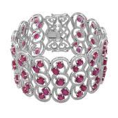 Niassa Ruby Sterling Silver Bracelet (7.50 In) TGW 53.430 cts.