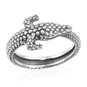 Artisan Crafted Sterling Silver Crocodile Ring (Size 7.0)