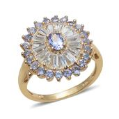 Tanzanite, White Topaz 14K YG Over Sterling Silver Ring (Size 8.0) TGW 3.350 cts.