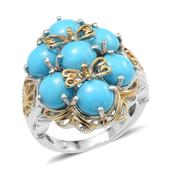 Arizona Sleeping Beauty Turquoise 14K YG and Platinum Over Sterling Silver Fancy Filigree Ring (Size 5.0) TGW 6.500 cts.