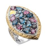 Multi Topaz 14K YG and Platinum Over Sterling Silver Ring (Size 5.0) TGW 11.300 cts.