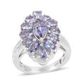 Bondi Blue Tanzanite, Diamond Platinum Over Sterling Silver Ring (Size 6.5) TDiaWt 0.02 cts, TGW 4.020 cts.