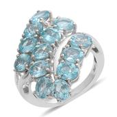 Madagascar Paraiba Apatite, Diamond Platinum Over Sterling Silver Ring (Size 6.5) TDiaWt 0.05 cts, TGW 5.380 cts.