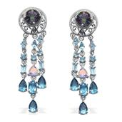 Multi Gemstone Platinum Over Sterling Silver Earrings TGW 11.12 Cts.