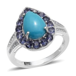 Arizona Sleeping Beauty Turquoise, Catalina Iolite, White Topaz Platinum Over Sterling Silver Ring (Size 7.0) TGW 4.150 cts.