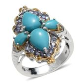 Arizona Sleeping Beauty Turquoise, Catalina Iolite 14K YG and Platinum Over Sterling Silver Ring (Size 7.0) TGW 4.83 cts.