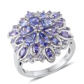 Tanzanite Platinum Over Sterling Silver Ring (Size 7.0) TGW 4.200 cts.