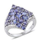 Tanzanite, White Topaz Platinum Over Sterling Silver Split Ring (Size 7.0) TGW 4.10 cts.