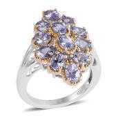 Tanzanite Platinum Over Sterling Silver Ring (Size 9.0) TGW 6.000 cts.