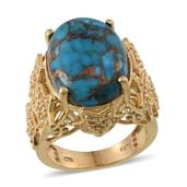 Mojave Blue Turquoise, White Topaz 14K YG Over Sterling Silver Ring (Size 7.0) TGW 18.800 cts.