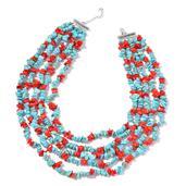 Blue Howlite, Sponge Coral Silvertone Multi Strand Necklace (18-20 in) TGW 1014.00 cts.