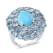 Arizona Sleeping Beauty Turquoise, Electric Blue Topaz Platinum Over Sterling Silver Ring (Size 9.0) TGW 13.400 cts.