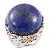 Lapis Lazuli, Blue Austrian Crystal ION Plated YG and Stainless Steel Statement Ring (Size 8.0) TGW 40.00 cts.