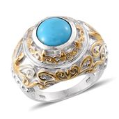 Arizona Sleeping Beauty Turquoise 14K YG and Platinum Over Sterling Silver Ring (Size 7.0) TGW 3.000 cts.
