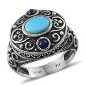 Tribal Collection of India Arizona Sleeping Beauty Turquoise, Lapis Lazuli Nature Sterling Silver Inspired Ring (Size 5.0) TGW 1.300 cts.