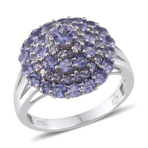 Tanzanite Platinum Over Sterling Silver Cluster Ring (Size 10.0) TGW 3.190 cts.