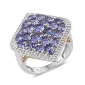 Tanzanite 14K YG and Platinum Over Sterling Silver Cluster Ring (Size 10.0) TGW 5.300 cts.
