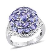 Tanzanite, Diamond Platinum Over Sterling Silver Cluster Ring (Size 9.0) TDiaWt 0.08 cts, TGW 4.170 cts.