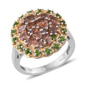 Jenipapo Andalusite, Russian Diopside, White Topaz 14K YG and Platinum Over Sterling Silver Beautiful Ring (Size 7.0) TGW 2.88 cts.