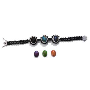 Multi Gemstone Platinum Over Sterling Silver Bracelet with Set of 6 Interchangeable Stones TGW 109.500 cts. (7.50 In)