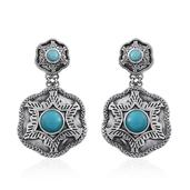 Tribal Collection of India Sonoran Blue Turquoise Sterling Silver Dangle Earrings TGW 4.20 cts.
