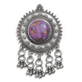 Tribal Collection of India Mojave Purple Turquoise Sterling Silver Pendant without Chain TGW 25.00 Cts.