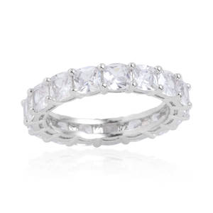 Simulated Diamond Silvertone Eternity Ring (Size 7.0) TGW 0.530 cts.