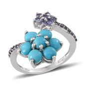 Arizona Sleeping Beauty Turquoise, Tanzanite Platinum Over Sterling Silver Ring (Size 7.0) TGW 3.770 cts.