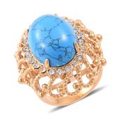 Blue Howlite, Austrian Crystal ION Plated YG Stainless Steel Ring (Size 7.0) TGW 25.000 cts.