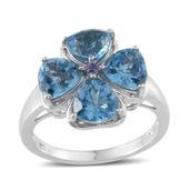 Electric Blue Topaz, Tanzanite Platinum Over Sterling Silver Ring (Size 7.0) TGW 6.000 cts.