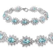 Madagascar Paraiba Apatite, White Topaz Platinum Over Sterling Silver Bracelet (7.50 In) TGW 22.550 cts.