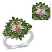 Turkizite, Russian Diopside Platinum Over Sterling Silver Ring (Size 7.0) TGW 3.900 cts.