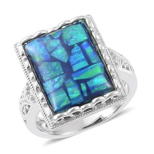 Simulated Opal Sterling Silver Ring (Size 9.0) TGW 4.10 cts.