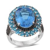 Electric Blue Topaz, Malgache Neon Apatite, Thai Black Spinel Platinum Over Sterling Silver Ring (Size 10.0) TGW 14.05 cts.