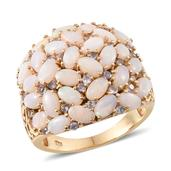 Australian White Opal, Tanzanite 14K YG Over Sterling Silver Openwork Cluster Ring (Size 7.0) TGW 6.250 cts.