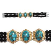 Mojave Blue Turquoise, Black Agate Bead 14K YG and Platinum Over Sterling Silver Bracelet (7.75 In) TGW 88.010 cts.