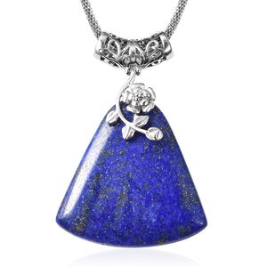 Lapis Lazuli Stainless Steel Necklace (20 in) TGW 100.00 cts.