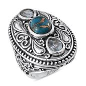 Mojave Blue Turquoise, Blue Topaz Sterling Silver Ring (Size 9.0) TGW 4.670 cts.