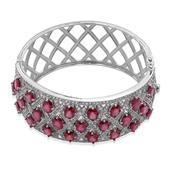 Niassa Ruby, White Topaz Sterling Silver Bangle (7.5 in) TGW 50.000 cts.