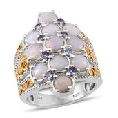 Australian White Opal, Tanzanite 14K YG and Platinum Over Sterling Silver Ring (Size 9.0) TGW 3.350 cts.
