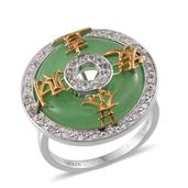 Treasures from the Orient Green Jade, White Topaz 14K YG and Platinum Over Sterling Silver Ring (Size 7.0) TGW 16.850 cts.
