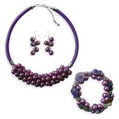 Simulated Purple Pearl Stainless Steel Bracelet (Stretchable), Earrings and Necklace (18.5 in)