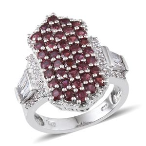 Anthill Garnet, White Topaz Platinum Over Sterling Silver Ring (Size 7.0) TGW 4.940 cts.