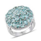 Madagascar Paraiba Apatite Platinum Over Sterling Silver Ring (Size 6.0) TGW 6.700 cts.