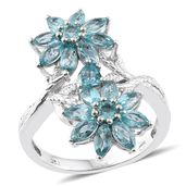 Madagascar Paraiba Apatite Platinum Over Sterling Silver Floral Ring (Size 8.0) TGW 4.85 cts.
