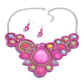 Pink Chroma, Seed Bead Silvertone Dangle Earrings and Bibs Necklace  (18-20 in)