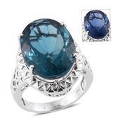Color Change Fluorite Platinum Over Sterling Silver Ring (Size 8.0) TGW 23.00 cts.