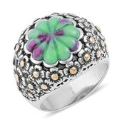 Ruby Zoisite ION Plated YG and Stainless Steel Engraved Floral Bushel Ring (Size 8.0) TGW 6.95 cts.