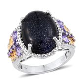 KARIS Collection - Blue Goldstone, Simulated Purple Diamond ION Plated 18K YG and Platinum Bond Brass Ring (Size 7.0) TGW 12.400 cts.